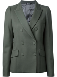Maison Martin Margiela Double Breasted Twill Blazer Green