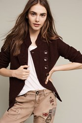 Anthropologie Military Sweater Coat Plum