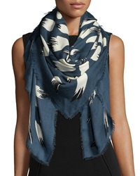 Kenzo Bamboo Leaves Woven Scarf Petrol