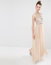 Frock And Frill Tulle Maxi Dress With Embellished Bodice Blush Nude Pink