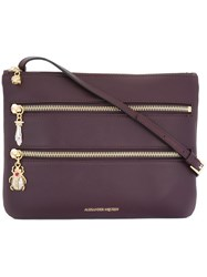 Alexander Mcqueen Triple Zip Crossbody Bag Pink And Purple