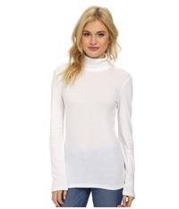 Splendid 1X1 Long Sleeve Turtleneck White Women's Long Sleeve Pullover