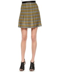 Ohne Titel Striped Pleated Silk Skirt Size 8 Olive Print