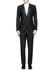 Lanvin 'Attitude' Satin Peak Lapel Slim Fit Wool Tuxedo Suit Black