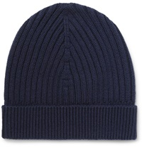 Dolce And Gabbana Ribbed Wool Beanie Blue