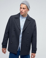 Asos Wool Mix Peacoat In Dark Grey Charcoal