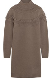 Agnona Fringed Wool And Cashmere Blend Mini Sweater Dress Taupe
