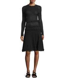 Jason Wu Long Sleeve Grid Dress W Fringe Trim Black Women's