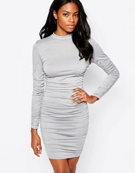 Ax Paris Long Sleeve Bodycon Dress With Ruching Grey