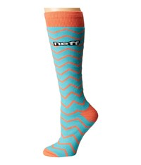 Neff Zag Snow Socks Teal Women's Thigh High Socks Shoes Blue