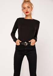 Missguided Crew Neck Ribbed Top Black Black