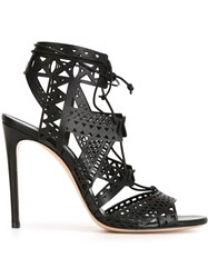 Casadei Laser Cut Stiletto Sandals Black