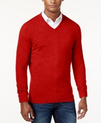 Club Room Cashmere V Neck Solid Sweater Cherry Wood Heather