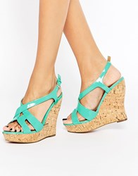Paper Dolls Platform Wedge Sandals Mint Green