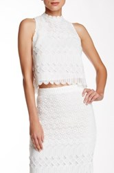 Champagne And Strawberry Lace Crop Tank White