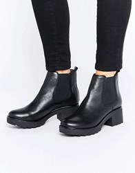 Aldo Manuan Chunky Leather Chelsea Boots Black Leather