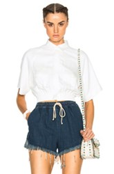 Msgm Elastic Waist Short Sleeve Shirt In White