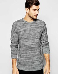 Blend Of America Blend Long Sleeve Henley Woven Slub Stripe Stonemix