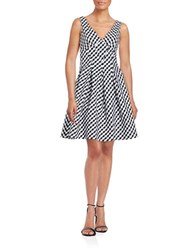 Betsey Johnson Checkered Fit And Flare Dress Black Ivory
