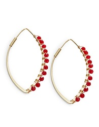 T And C Theodora And Callum Beaded Teardrop Hoop Earrings Red