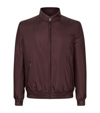 Zilli Leather Trim Bomber Jacket Male Burgundy