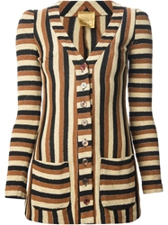 Biba Vintage Striped Cardigan Brown