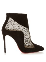 Christian Louboutin Papillo 100Mm Suede Ankle Boots Black