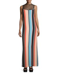Opening Ceremony Sleeveless Sheer Yoke Striped Maxi Dress Coral Multi Coral Multi