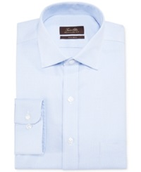 Tasso Elba Non Iron Blue Twill Houndstooth Dress Shirt