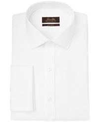 Tasso Elba Non Iron Twill Solid French Cuff Dress Shirt White