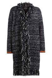 Giambattista Valli Fringed Cardigan With Mohair And Wool Black