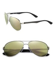 Ray Ban Pilot 61Mm Mirrored Sunglasses Silver Black