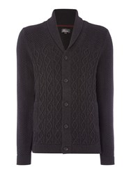 Linea Men's Agen Chunky Cable Knit Cardigan Charcoal