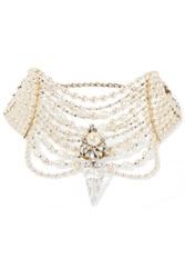 Erickson Beamon Swan Lake Gold Plated Faux Pearl And Swarovski Crystal Choker