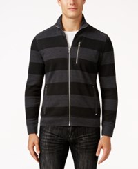 Inc International Concepts Men's Striped Rider Jacket Only At Macy's Heather Onyx