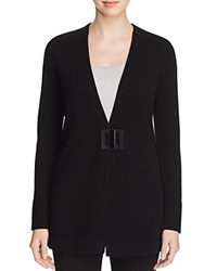 Magaschoni Leather Closure Cashmere Cardigan Black
