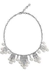 Ben Amun Silver Tone Crystal And Faux Pearl Necklace Metallic