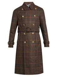 Gucci Double Breasted Tartan Trench Coat Brown Multi