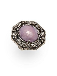 Bavna Pink Sapphire Champagne Diamonds And Sterling Silver Ring Silver Pink