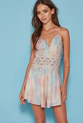 Forever 21 Tiger Mist Crochet Panel Buttoned Tie Dye Romper White