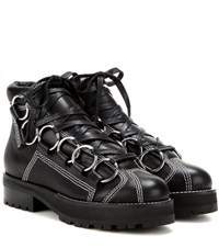 Opening Ceremony Embellished Leather Ankle Boots Black