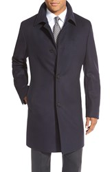 Boss 'Task' Trim Fit Wool And Cashmere Overcoat Solid Navy
