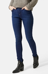 Topshop Moto 'Leigh' Ankle Skinny Jeans Navy Blue Regular And Short