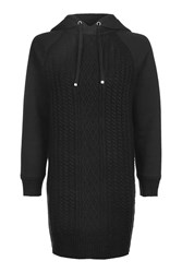 Topshop Cable Hooded Knitted Dress Black