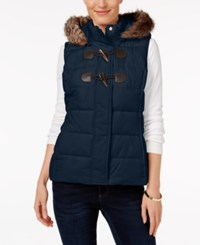 Charter Club Faux Fur Trim Puffer Vest Only At Macy's Intrepid Blue