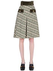 Gucci Printed Wool Shorts W Suede Details