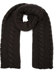 Umit Benan Cable Knit Scarf Brown