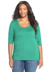 Sejour Plus Size Women's Elbow Sleeve Scoop Neck Tee Teal Pool