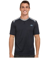 The North Face Reactor Short Sleeve Crew Shirt Cosmic Blue Heather Monument Grey Men's T Shirt Black