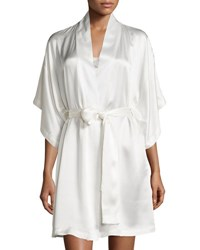 Natori Jasmine Short Silk Wrap Robe Warm White